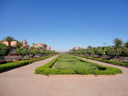 Ruas da parte nova de Marrakech